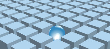 Glänzende abstrakte Kugel stellte in Reihen der blauen Würfel ein vektor abbildung