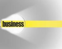 Glänzende Birne mit gelbem Streifen und Wort GESCHÄFT auf grauem Hintergrund Lizenzfreie Stockbilder