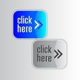 Glänzende blaue und graue Web-Elemente Stockbilder