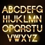 Glänzende Buchstaben des Vektors Gold Stockbild