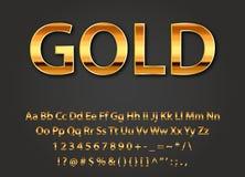 Glänzende Buchstaben des Vektors Gold Lizenzfreie Stockfotografie