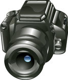 Glänzende Digitalkameraabbildung Stockfoto