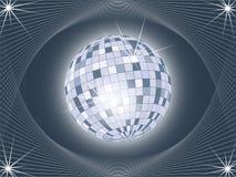 Glänzende Discokugel auf abstraktem Hintergrund Stockbild