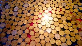 Glänzende Euromünzen lizenzfreie stockbilder