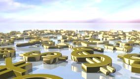 Glänzende führende Geldzeichen oben angehäuft Wiedergabe 3d Stockbilder