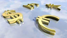Glänzende führende Geldzeichen Wiedergabe 3d Stockfotos