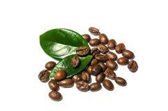 Glänzende frische Röstkaffeebohnen mit den Blättern lokalisiert auf weißem b Lizenzfreie Stockbilder