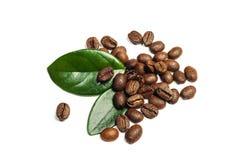 Glänzende frische Röstkaffeebohnen mit den Blättern lokalisiert auf weißem b Stockbilder