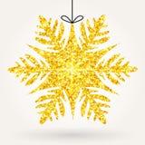 Glänzende Funkelnschneeflocke des Feiertags Stockbild