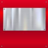 Glänzende gebürstete Metallplatte mit Schrauben lizenzfreie abbildung