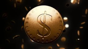 Glänzende Golddollarmünze lizenzfreie abbildung