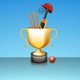Glänzende goldene gewinnende Trophäe für Kricketsport Stockfoto