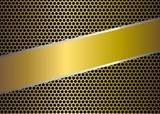 Glänzende goldene perforierte Metallmasche und Band-Hintergrund lizenzfreie abbildung
