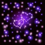 Glänzende Herzen Retro- Leuchtreklame Herz-violett auf einem dunklen Hintergrund Bereiten Sie für Ihr Design, Grußkarten, Fahnen  stock abbildung