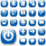 Glänzende Ikonen-Geschäfts-Internet-site-gesetztes Blau Stockfoto