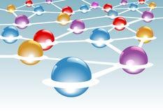 Glänzende Knotenpunkte schlossen im Netzsystem an Stockfoto