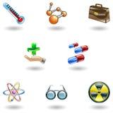 Glänzende medizinische Ikonen Stockfoto