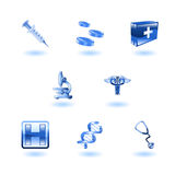 Glänzende medizinische Ikonen Lizenzfreies Stockbild