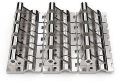 Glänzende Metallteile gemacht vom Stahl auf einem weißen Hintergrund Abbildung 3D Stockfotos
