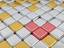 Glänzende Oberflächen des Mosaiks 3d, des Silbers und des Goldes. Stockfotografie