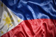 glänzende Philippinen-Flagge Stockbilder