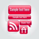 Glänzende rote Web-Elemente Stockfotos
