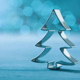 Glänzende silberne Weihnachtsbaumdekoration Stockfoto