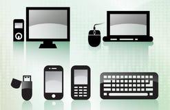 Glänzende Technologie-Ikonen Stockfotos