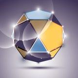glänzender Ball des Spiegels 3D Vektor Fractal, der abstraktes illustrat blendet Lizenzfreies Stockfoto