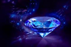 Glänzender blauer Diamant auf einem schwarzen Hintergrund Stockfotografie