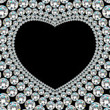 Glänzender Diamantherzrahmen auf schwarzem Hintergrund Stockbild