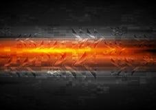 Glänzender Glühenpfeil-Orangenhintergrund Stockfotografie