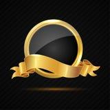 Glänzender Goldausweis mit leerem Zeichen und Band Lizenzfreie Stockbilder