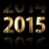 goldener 2015-jähriger Hintergrund 3D Stockbild