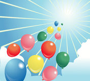 Glänzender Himmel der Baloon Abbildung Lizenzfreie Stockfotos