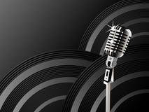 Glänzender Hintergrund des Mikrofons Stockfotografie