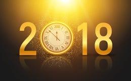 Glänzender Hintergrund des neuen Jahres 2018 mit Uhr Guten Rutsch ins Neue Jahr-2018 Feier-Dekorationsplakat, festliche Kartensch Stockfotografie