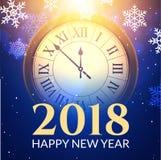 Glänzender Hintergrund des neuen Jahres 2018 mit Uhr Guten Rutsch ins Neue Jahr-2018 Feier-Dekorationsplakat, festliche Kartensch Lizenzfreies Stockfoto