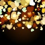 Glänzender Hintergrund mit abstrakten glühenden Herzen Vektorfeiertagsba lizenzfreie abbildung