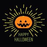 Glänzender Kürbis Gelbe Strichlinie Halloween-Karte für Kinder Flaches Design des schwarzen Hintergrundes Lizenzfreie Stockfotografie