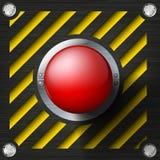 Glänzender Knopf der roten Warnung lizenzfreie abbildung
