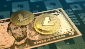 Glänzender Litecoin-Schlüssel-währungshintergrund lizenzfreie abbildung