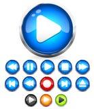 Glänzender /play-Knopf der Audioknöpfe EPS10, Halt, rec, Rückspulen, stoßen, folgende, vorhergehende Knöpfe aus Stockfotografie