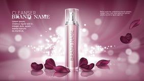 Glänzender rosa Hintergrund mit dem Befeuchten von kosmetischen erstklassigen Produkten Stockfoto