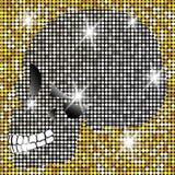 Glänzender Schädel von Diamanten und von Goldfunkelnden Sternen Goldene Elementsammlung Tag der Toten Ikonensymbol-Modedesign Stockbilder
