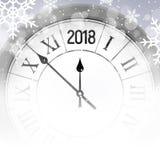 glänzender Schneehintergrund des neuen Jahres 2018 mit Uhr Guten Rutsch ins Neue Jahr-2018 Feier-Dekorationsplakat, festliche Kar Lizenzfreie Stockfotos