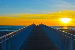 Glänzender Sonnenaufgang über dem Wasser vom Huronsee Lizenzfreie Stockfotos