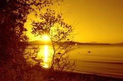 Glänzender Sonnenuntergang des abgelegenen Strandes Lizenzfreie Stockbilder