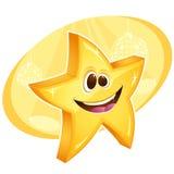 Glänzender Stern, der mit Discokugeln auf Hintergrund lächelt Stockbild