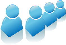 Glänzendes blaues Leute-Symbol-Ikonen-Set Stockfoto